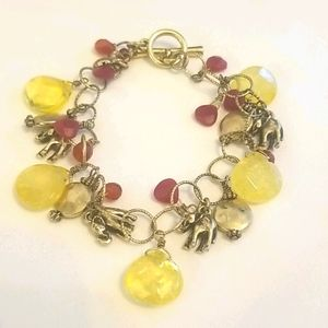 LUCKY BRAND Elephant Bracelet Yellow Red Siver